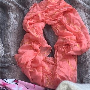 NWOT bright coral and gold infinity scarf 🤩